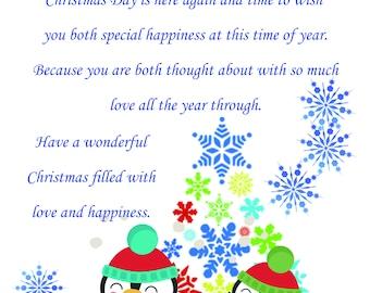 Cousin & Girlfriend Christmas Card cute