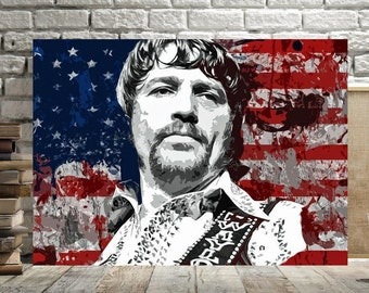Waylon Jennings, Print or Canvas, Country Music Legend Poster, Country Musician Picture, Cool Country Music Artist Wall Art, Country Decor