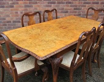 Burr Walnut Veneered Table with 6 chairs
