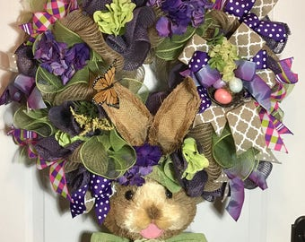 easter wreath,purple wreath,bunny wreath,rabbit wreath, purple wreath,Easter door decor,whimsical wreath,Easter bunny wreath,spring wreath