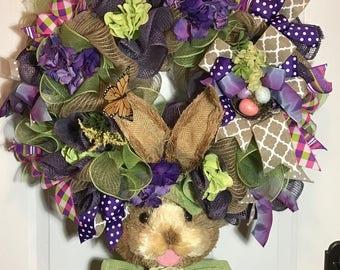 easter wreath, easter bunny wreath, Easter door decor, front door wreath, Spring door decor, kids easter wreath, spring wreath, Easter