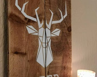 Geometric painting, animal painting, painting wood, deer, deer, wall decor, origami