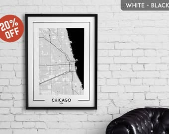 CHICAGO map print, Chicago poster, Chicago wall art, Chicago city map, Chicago map decor, Chicago decoration, Chicago gift, Chicago art
