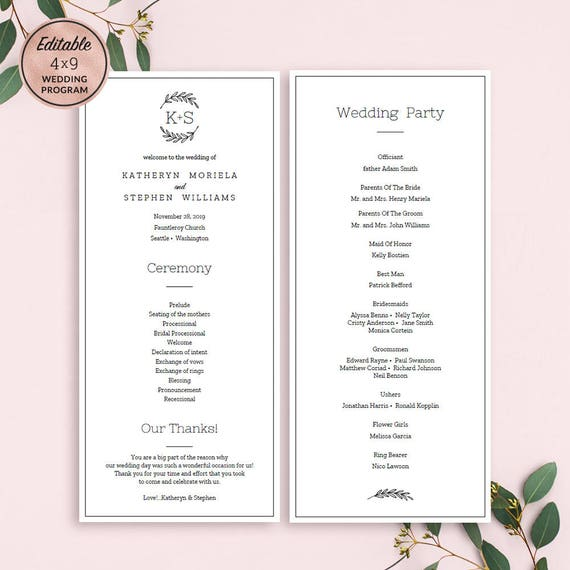 elegant wedding programs template download printable editable. Black Bedroom Furniture Sets. Home Design Ideas
