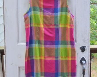 Vintage Plaid Dress - Colorful Fall Shift Dress