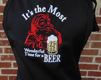 It's the most Wonderful Time for a Beer, Embroidered Apron, Beer Lover, Santa Apron, Christmas Apron, Housewarming gift