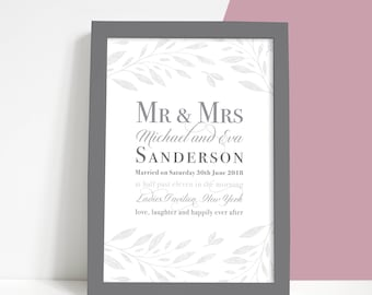 Personalised Typographic Wedding or Anniversary Print, Wedding Gift, Paper Anniversary, First Anniversary Print, Grey Taupe