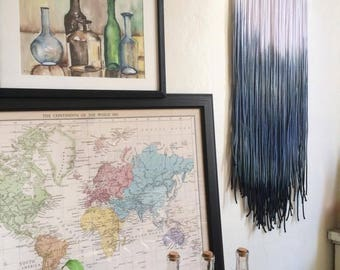 Wall Hanging  OCEANBREEZE / Dip-dyed ombre wallhanging / Wandbehang / tricoloured / Wandschmuck / Bohodecor / Unikat