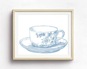 Tea Cup Art Print, Kitchen Decor, Tea Party Decor, Nursery Decor, Kitchen Vintage Art, Blue