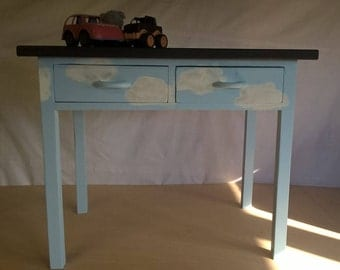 Child's vintage Desk with Chalkboard Top and hand painted clouds refurbished upcycled shabby chic painted furniture satin varnish