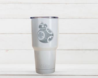 Yeti Cup, Star Wars BB8 Etched Yeti Mugs, BB8 Birthday Gift, Custom Yeti cups With BB8 Engraved, BB8 Gift For Him
