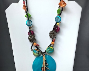 Colorful Necklace, Colorful Bead Necklace, Colorful Jewelry, Multicolor Necklace, Tribal Necklace, Unique Necklace, Bold Necklace
