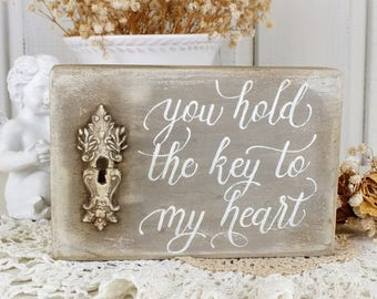 You hold the key to my heart Small wooden signs Rustic wedding decorations Shabby chic love gift Handpainted scripture wall art Gift for her
