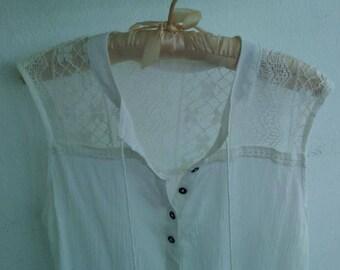 Upcycled, sleeveless summer top, size medium, boho chic
