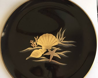 vintage ortagiri black lacquer tray with gold seashell and coral detail
