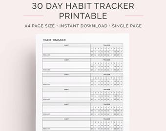 30 Day Monthly Habit Tracker Printable   A4