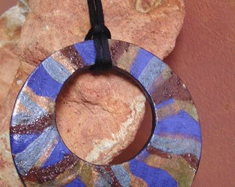 Blue Eye Tribal Pendant Necklace Shaman Book Art Natural Pigments Copper Ochre Ultramarin Earth Water Goddess Symbol Paper Art Pagan Gift