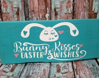 Bunny Kisses Easter Wishes Shabby Chic Wood Sign Plaque Turquoise Blue Home Decor Reclaimed Wood Sign