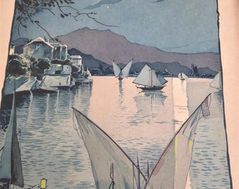 Old signed watercolor Schmidt - boats in the Moonlight