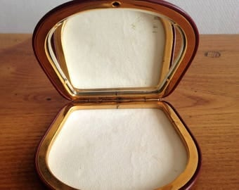 Pocket mirror / compact - leather and brass - vintage - France