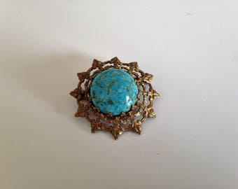 Antique brass and turquoise pin