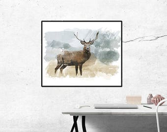 Elk Watercolor, Elk, Elk Painting, Watercolor, Elk Art, Elk Print, Watercolor Print, Elk Poster, Elk Picture, Elk Artwork, Elk Home decor