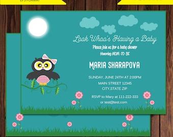 Baby Shower Invitation, Baby Shower Package, Owl Baby Shower Invitation, Fall Baby Shower, DIGITAL invitation,Jpg,PDF,EPS format,