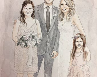 Custom Wedding Family Portrait-Watercolor Painting-Couple Portrait-Wedding Painting-Valentines Day Gift
