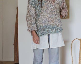 Vintage Hand Knit Multi-Color Pastel Sweater