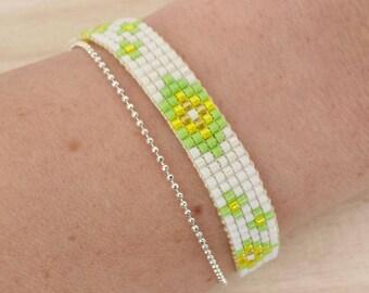Yellow & green bead woven bracelet, Bead loom bracelet, Summer loom beaded bracelet with chain, Boho style bracelet, Ibiza colorful bracelet