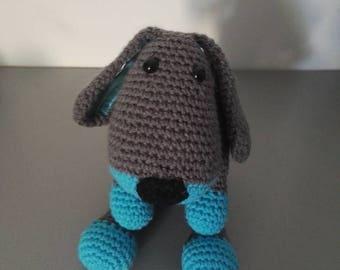 Plush dog amigurumi grey Turquoise
