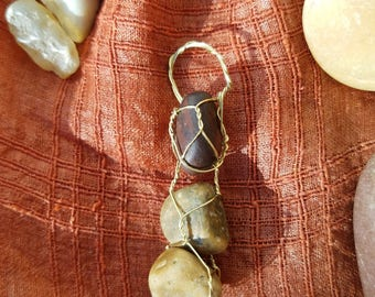 river rock wire wrap pendant