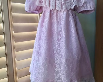 Vintage Girl's Edwardian Style Lace Party Dress