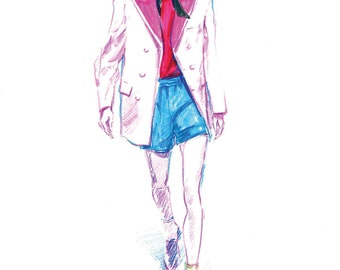 Fashion Illustration color pencils men illustration men glasses  illustration Fashion art Fashion men illustration