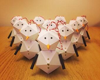 Origami paper 3D geometric snowman Christmas tree decoration