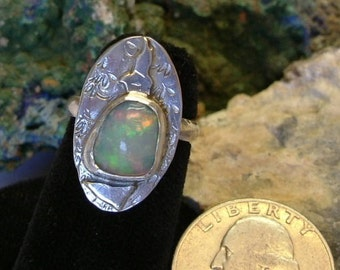 Ethiopian Fire Opal Ring Sterling Silver Size 5 1/2 Gem Statement Ring Red Green and Yellow Fire 163G