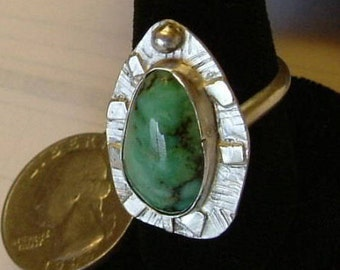 Variquoise Ring Sterling Silver Size 8 OOAK Large Chunky Variscite Turquoise Statement Ring Statement Jewelry Green Black 078G