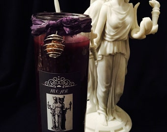 Hecate Devotional Candle - Dressed in herbs, oils & gemstone adorned!