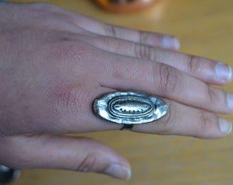 Oval Tribal Steel Ring