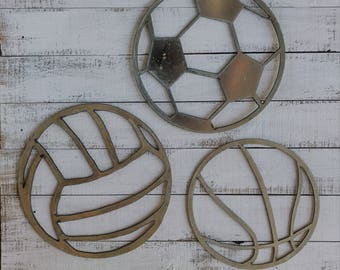 Metal Sports cutout options: Soccer Ball, Volleyball, Basketball, or Football