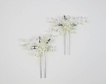 METANAH Pearl Hair Pins, Bridal Hair Pins, Pearl Hair Pins, Wedding Hair Pins, Crystal hair pins, wedding hair piece, bridal hair accessory