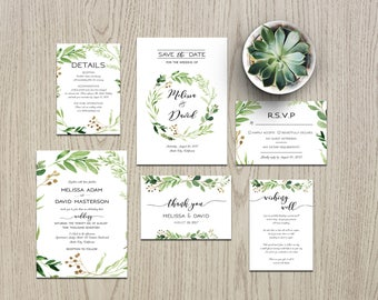 Wedding Invitation Template,Greenery Wedding Invitation, Wedding Invitation Suite,  Wedding Invitation Printable, Green Wedding Invitation