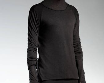 Mens Black Slim Top, Futuristic Clothing, Extravagant Top, Mens Hooded Top, Mens Minimalist Clothing, Fitted Top, Gothic Clothing
