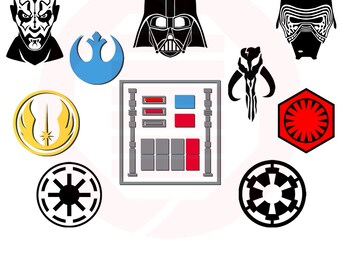 Star Wars SVG symbol decal decoration clipart logos vector cut file Darth Vader Maul Kylo Ren Jedi cosplay costume gift instant download