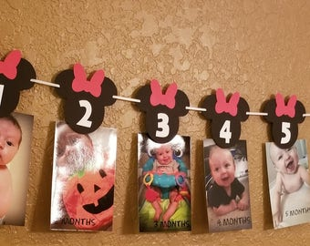Minnie Mouse 12 Month Banner Mickey Mouse 1st Birthday Banner Decorations Mickey Mouse Decorations Minnie Mouse Banner Birthday decorations