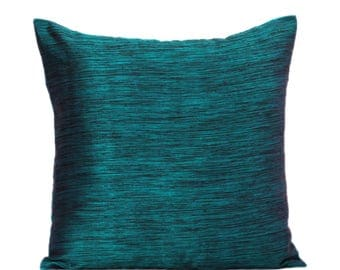 Teal Pillow Cover, Dark Teal Pillow Cover, Minimalist Pillow Covers