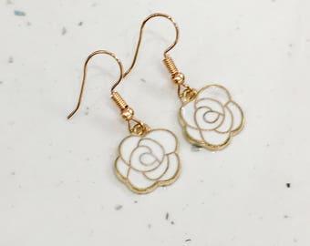 White & Gold Flower Hook/Dangly Earrings
