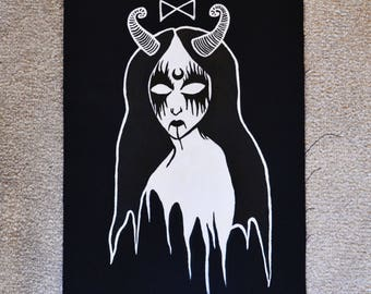 Hand Painted Witch Gothic Back Patch