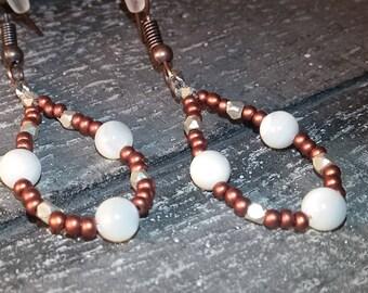 mother of pearl and copper glass earrings, teardrop earrings