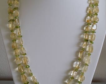 Double-strand Citrine and Peridot Necklace